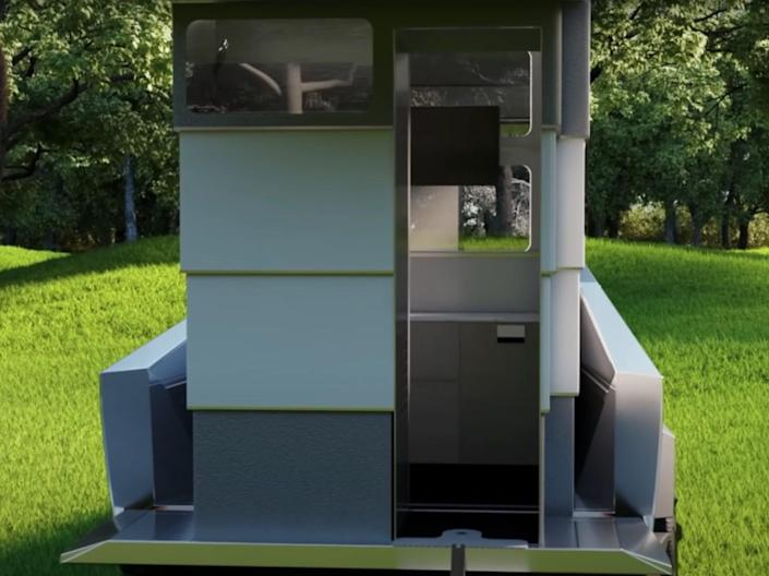 a rendering of the entry door into the camper