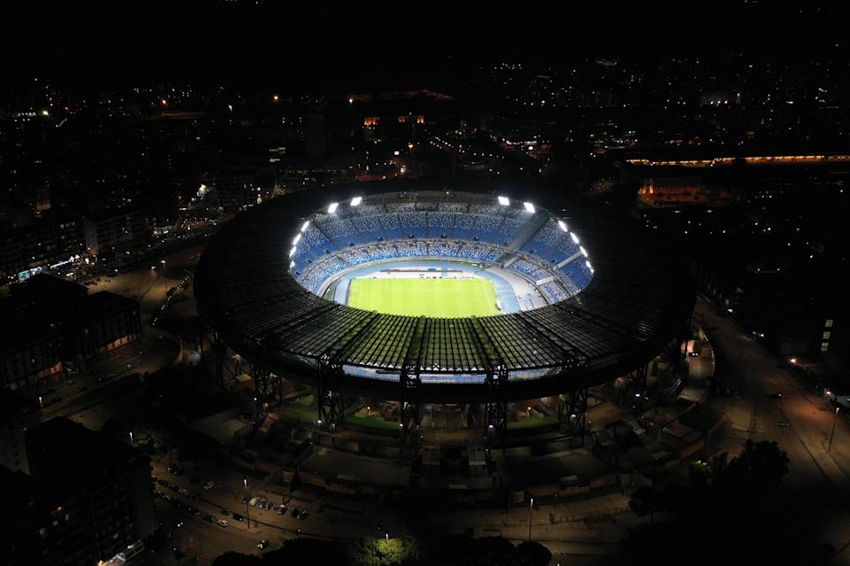 The Stadio San Paolo was illuminated on Wednesday night in Maradona's honour (Getty Images)