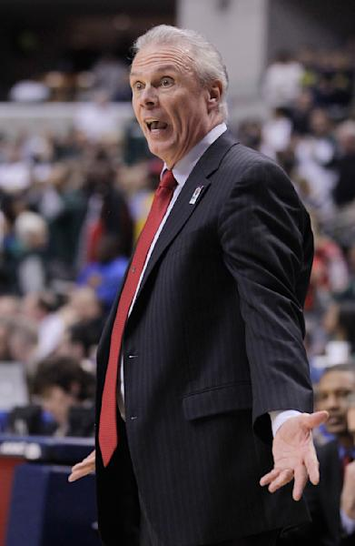 Wisconsin head coach Bo Ryan argues with an official in the first half of an NCAA college basketball game against Michigan State in the semifinals of the Big Ten Conference tournament in Indianapolis, Saturday, March 10, 2012. (AP Photo/Michael Conroy)