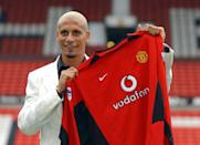 Manchester United broke the record fee paid for a defender by £8 million when they took Rio Ferdinand from Leeds United for £30 million in 2002. Ferdinand became the most expensive British player in history with the move and signed a five year deal with the club. (Credit: Getty Images)