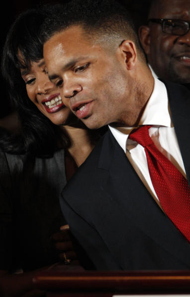 FILE - In this March 20, 2012 file photo, Rep. Jesse Jackson Jr., D-Ill., and his wife Chicago Alderman Sandi Jackson, thank family members at the foot of the stage at his election night party, in With the November election only five weeks away, Jackson's absence from work and the campaign trail is testing patience in Chicago. His GOP opponent is now criticizing him for it after pledging not to. Friendly editorial writers are now urging he come forward and finally explain himself. And Jackson's alderman wife, Sandi, is having to deny in public that she might step in to replace him. The Jackson camp says only that the congressman is still on the ballot and will only return to work when cleared for that by a doctor, but the uncertainty and mystery is feeding talk of what happens if he resigns and needs to be replaced, a process with a sordid history in Chicago and Illinois. (AP Photo/M. Spencer Green, File)