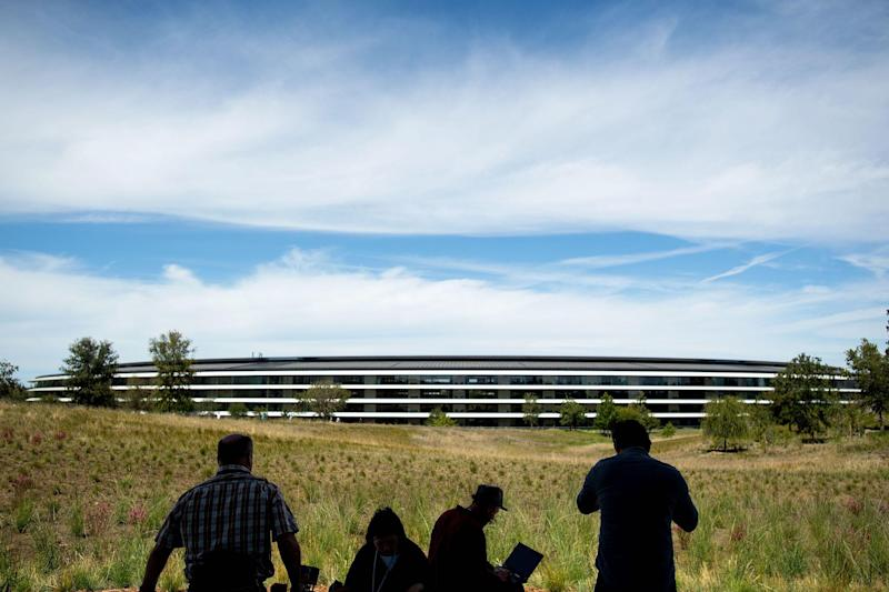 Journalists gather for a product launch event at Apple headquarters in Cupertino, California, on September 12, 2018: NOAH BERGER/AFP/Getty Images