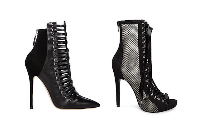 "<p>Brian Atwood for Victoria's Secret ""Punk Angel"" lace-up booties, left, and Steve Madden mesh booties, <a href=""https://www.stevemadden.com/product/FUEGO-M/247259.uts?selectedColor=BLACK"" rel=""nofollow noopener"" target=""_blank"" data-ylk=""slk:$79.98 Steve Madden"" class=""link rapid-noclick-resp"">$79.98 Steve Madden</a> (Photo: Victoria's Secret/Steve Madden) </p>"