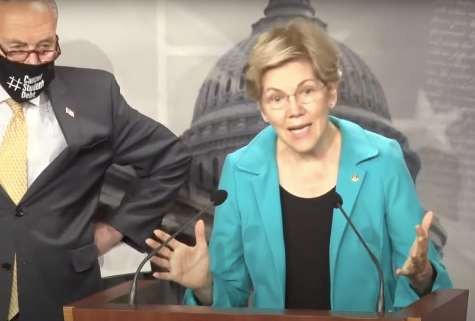 Warren and Schumer at the student loan press conference. (screenshot/C-SPAN)
