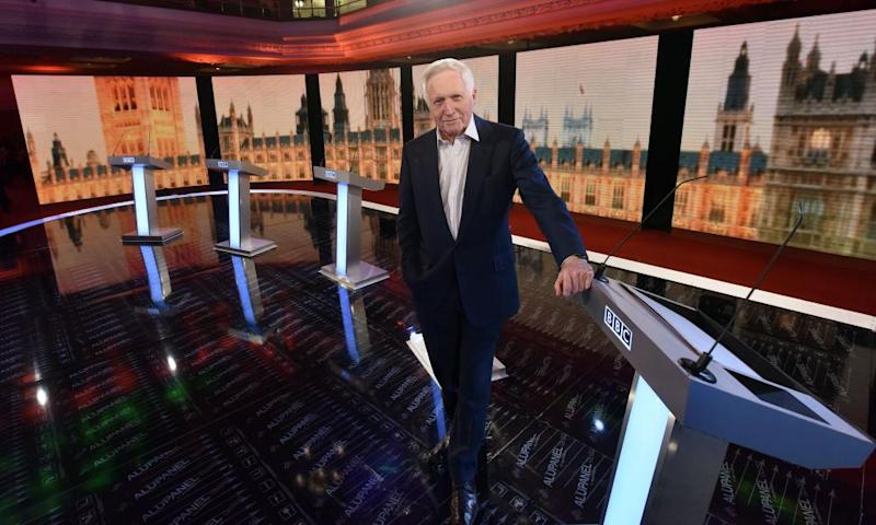 David Dimbleby on the set of the BBC Election Debate 2015.