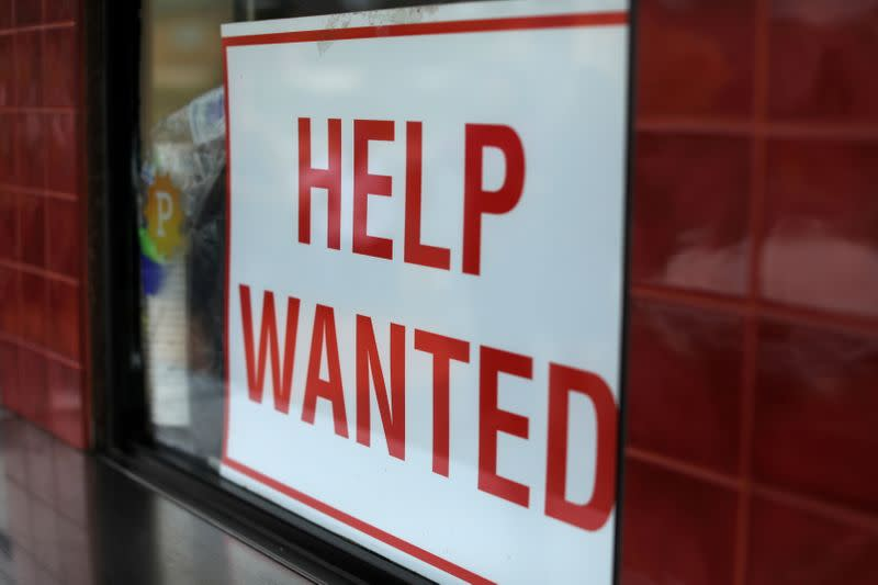FILE PHOTO: FILE PHOTO: Help Wanted sign at taco stand in California