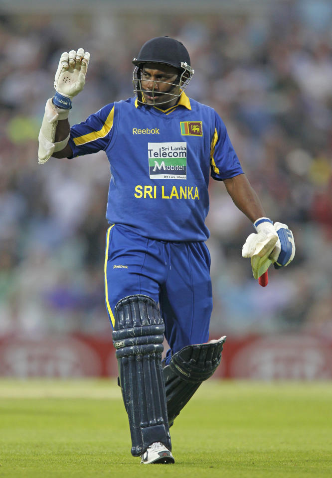 Sanath Jayasuriya of Sri Lanka acknowledges the crowd as he walks back to the Pavillion after getting out for 2 runs during the first One Day International cricket match between England and Sri Lanka at The Oval Cricket Ground in London, on June 28, 2011. AFP PHOTO / IAN KINGTON RESTRICTED TO EDITORIAL USE. NO ASSOCIATION WITH DIRECT COMPETITOR OF SPONSOR, PARTNER, OR SUPPLIER OF THE ECB (Photo credit should read IAN KINGTON/AFP/Getty Images)
