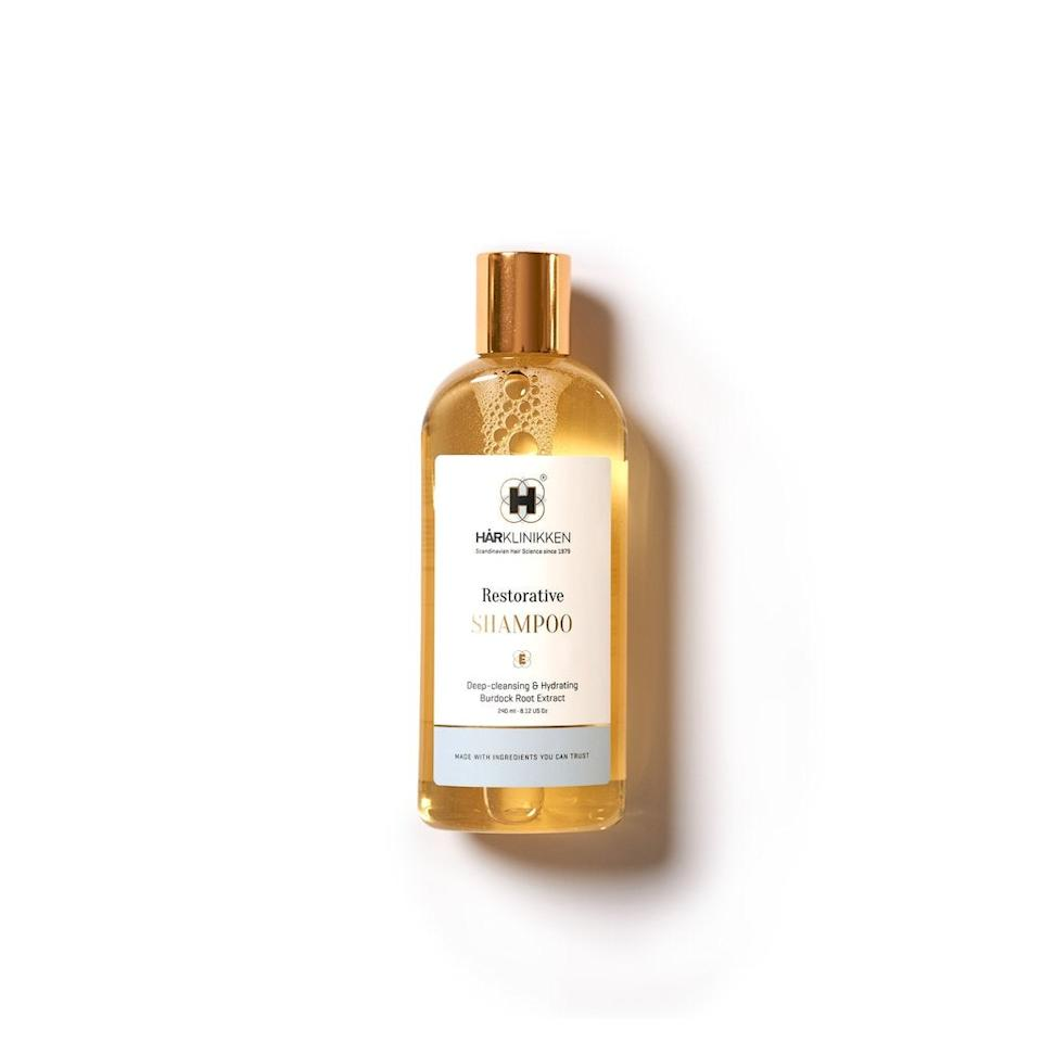 """<h3>Harklinikken Restorative Shampoo</h3><br>If you're not ready to invest in Harklinikken's customized hair treatment ($49 for a consultation, plus $90-130 per month for a bespoke liquid extract) try one of the brand's shampoos first. The Restorative formula helps address hair loss by balancing sebum production and is made with burdock root to support healthy hair growth.<br><br><strong>Harklinikken</strong> Restorative Shampoo, $, available at <a href=""""https://go.skimresources.com/?id=30283X879131&url=https%3A%2F%2Fwww.harklinikken.com%2Fproducts%2Frestorative-shampoo"""" rel=""""nofollow noopener"""" target=""""_blank"""" data-ylk=""""slk:Harklinikken"""" class=""""link rapid-noclick-resp"""">Harklinikken</a>"""