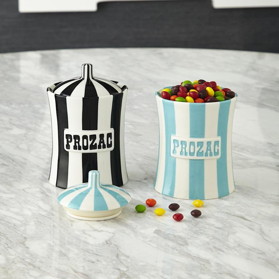<p>By the looks of these <span>Vice Prozac Canisters</span> ($88 each), Jonathan Adler must be designing with the high-end white elephant party in mind.</p>