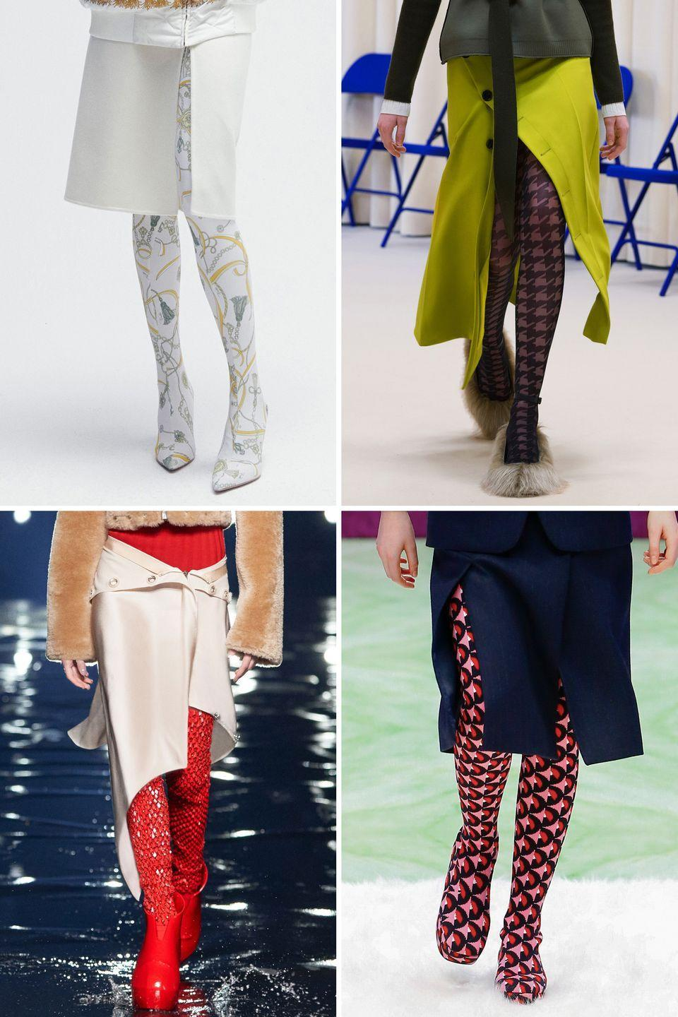 <p>Add drama to a slit skirt with a patterned tight or legging.</p><p><strong>Insider tip: </strong>Keep everything else simple and streamlined.</p><p><em>Pictured: Pucci, Nina Ricci, Givenchy, Prada</em></p>