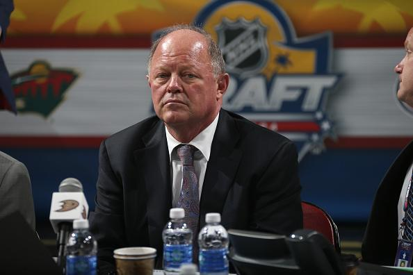 SUNRISE, FL - JUNE 27: General Manager Bob Murray of the Anaheim Ducks looks on from the draft table during the 2015 NHL Draft at BB&T Center on June 27, 2015 in Sunrise, Florida. (Photo by Dave Sandford/NHLI via Getty Images)
