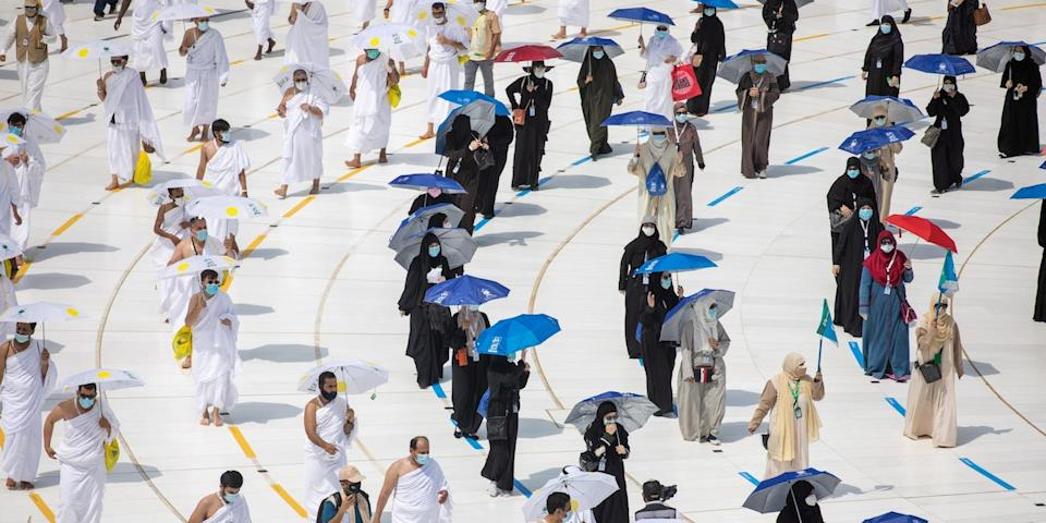"""The pandemic saw social distancing introduced during the annual Hajj in Mecca, Saudi Arabia. <p class=""""copyright"""">Saudi Ministry of Media/Handout via Reuters</p>"""