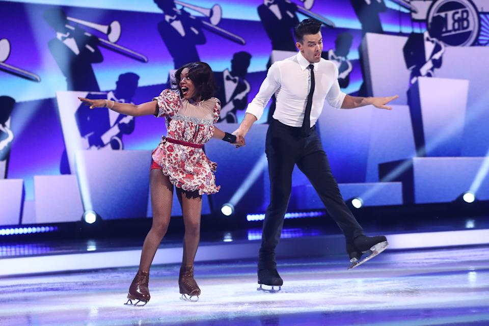 Editorial use only Mandatory Credit: Photo by Matt Frost/ITV/Shutterstock (11789729hr) Lady Leshurr and Brendyn Hatfield during the skate off 'Dancing On Ice' TV show, Series 13, Episode 7, Hertfordshire, UK - 07 Mar 2021