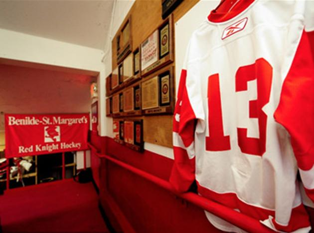 Jack Jablonski's jersey in the halls of Benilde-St. Margaret High School. — Jabby13.com
