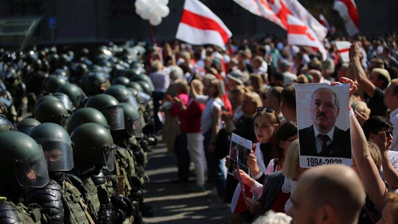 Mass protests in Belarus as France condemns 'arbitrary' media crackdown