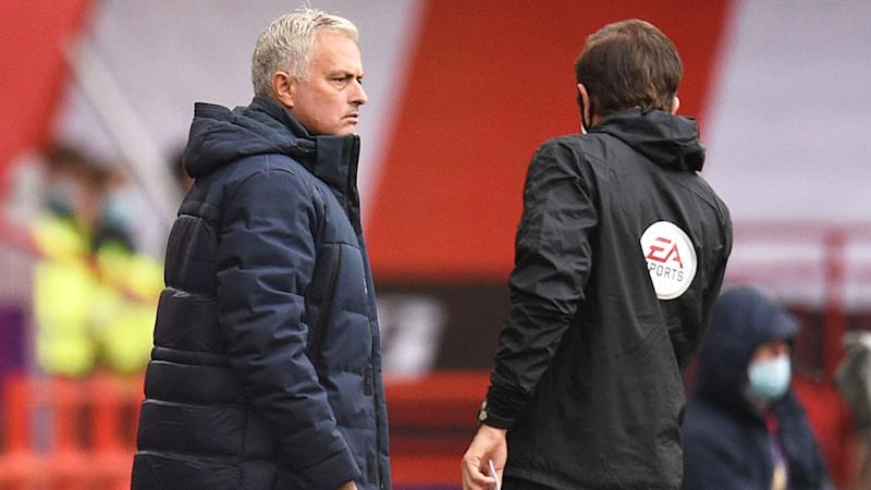 Seen here, Jose Mourinho on the sidelines for Spurs in their match against Sheffield United.