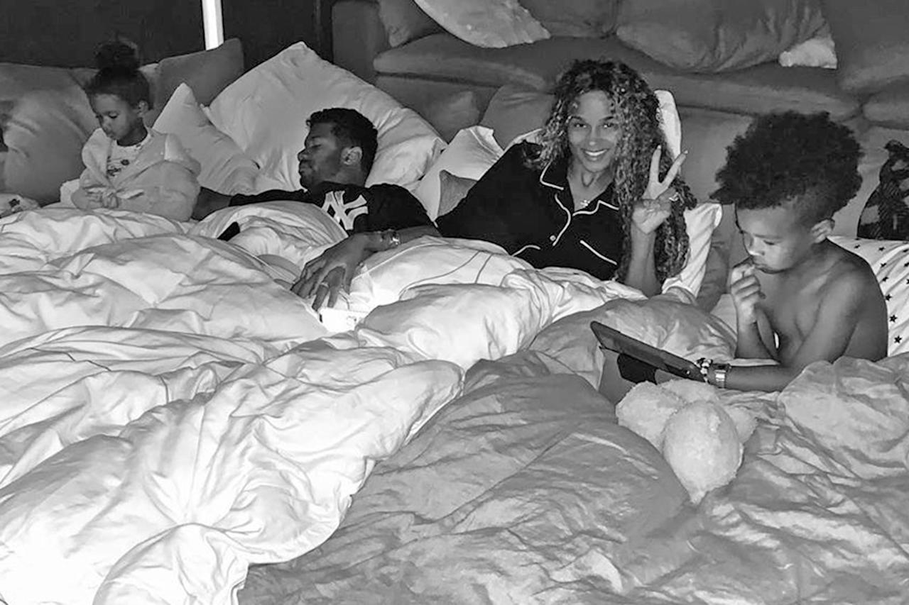 """<p><a href=""""https://people.com/tag/ciara"""">Ciara</a>shared an adorable photo of her snuggled up with her family, in which husband<a href=""""https://people.com/russell-wilson"""">Russell Wilson</a>appeared to be in a deep sleep as her son<a href=""""https://people.com/parents/ciara-welcomes-son-future-zahir/"""">Future Zahir</a>, 5½, and their daughter<a href=""""https://people.com/parents/ciara-serena-williams-daughters-playdate-cannes/"""">Sienna Princess</a>, 2½, got cozy underneath blankets.</p> <p>""""Slumber Party. Up all night ❤️,"""" the singer <a href=""""https://www.instagram.com/p/B-F4WWSHk1b/"""">captioned</a> the adorable black-and-white shot.</p>"""