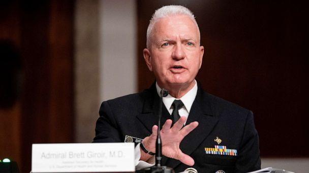 PHOTO: Admiral Brett Giroir, Assistant Secretary For Health Department of Health and Human Services, speaks during the Senate Appropriations subcommittee hearing at Capitol Hill in Washington, Sept. 16, 2020. (Anna Moneymaker/Pool via Shutterstock)