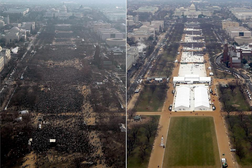 "<p>Edited and unedited images of Donald Trump's January 2017 inauguration, side by side. </p> <p>In one of the earlier dishonest moments of his presidential career, <a href=""https://people.com/politics/trump-requested-inauguration-photos-cropped-report/"" rel=""nofollow noopener"" target=""_blank"" data-ylk=""slk:it came out"" class=""link rapid-noclick-resp"">it came out</a> that a photographer employed by the U.S. government allegedly edited — at <a href=""https://people.com/tag/donald-trump/"" rel=""nofollow noopener"" target=""_blank"" data-ylk=""slk:President Donald Trump"" class=""link rapid-noclick-resp"">President Donald Trump</a>'s request — official inauguration photos so the number of attendees would appear greater, <a href=""https://www.theguardian.com/world/2018/sep/06/donald-trump-inauguration-crowd-size-photos-edited"" rel=""nofollow noopener"" target=""_blank"" data-ylk=""slk:The Guardian reported."" class=""link rapid-noclick-resp""><em>The Guardian</em> reported. </a>According to documents obtained by the outlet — investigative reports compiled by the inspector general of the Department of the Interior — the president was allegedly displeased that his crowd appeared smaller than the one at former President <a href=""https://people.com/tag/barack-obama/"" rel=""nofollow noopener"" target=""_blank"" data-ylk=""slk:Barack Obama"" class=""link rapid-noclick-resp"">Barack Obama</a>'s 2009 inauguration.</p>"