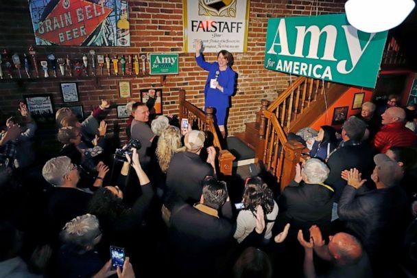 PHOTO: Democratic presidential candidate Sen. Amy Klobuchar, D-Minn., addresses a gathering at Barley's Taproom in Council Bluffs, Iowa, Jan. 28, 2020. (Gene J. Puskar/AP, FILE)