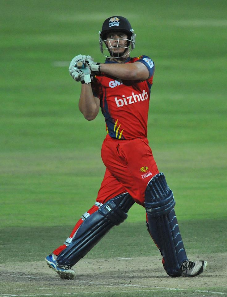 JOHANNESBURG, SOUTH AFRICA - OCTOBER 14:  Quinton de Kock of the Lions hooks a delivery during the Karbonn Smart CLT20 match between Highveld Lions and Mumbai Indians at Bidvest Wanderers Stadium on October 14, 2012 in Johannesburg, South Africa.  (Photo by Duif du Toit/Gallo Images/Getty Images)