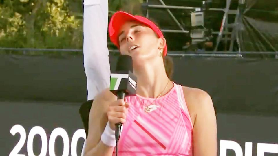 Alize Cornet (pictured) throwing her head back in an interview and looking disappointed.