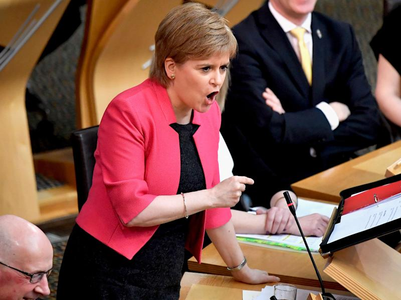 Nicola Sturgeon takes questions at First Minister's Questions inside the Scottish Parliament on March 16, 2017: Getty
