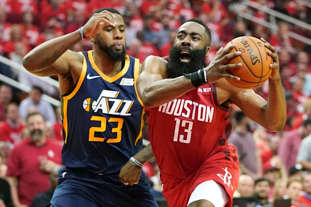 It's early in the playoffs, but concerns about James Harden running out of gas appear unfounded. (AP)