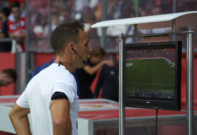 More of this sort of thing: A referee engrossed in VAR