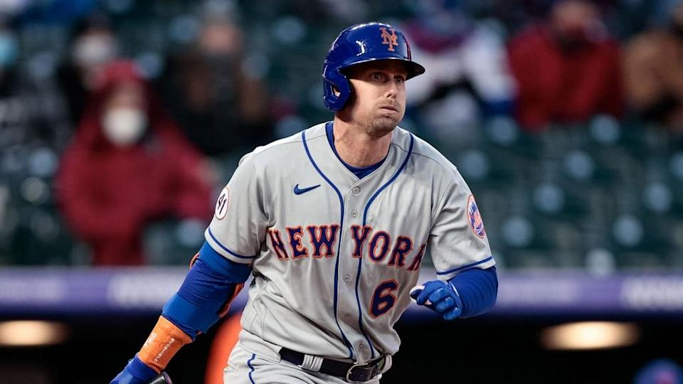 Jeff McNeil Mets follows through at the plate April 2021 in Colorado
