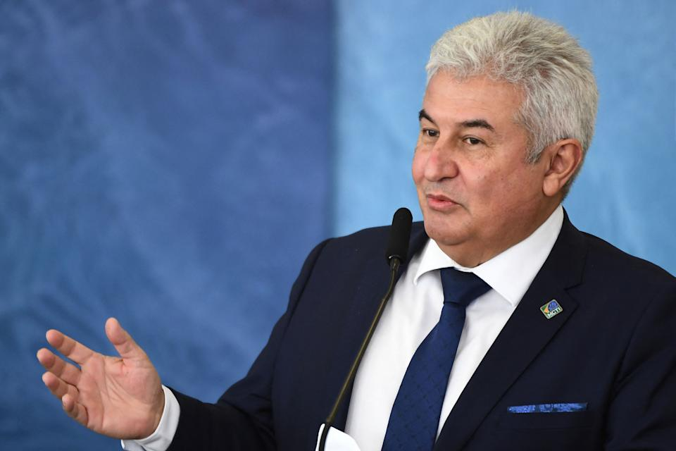Brazilian Science and Technology Minister Marcos Pontes speaks during the launching of the Brazilian Waters Program in celebration of International Water Day at Planalto Palace in Brasilia, on March 22, 2021. (Photo by EVARISTO SA / AFP) (Photo by EVARISTO SA/AFP via Getty Images)