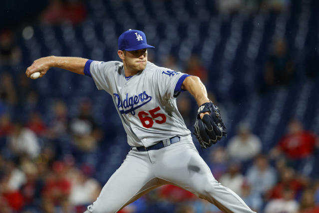 Los Angeles Dodgers' Casey Sadler pitches during the third inning of the team's baseball game against the Philadelphia Phillies, Wednesday, July 17, 2019, in Philadelphia. (AP Photo/Matt Slocum)