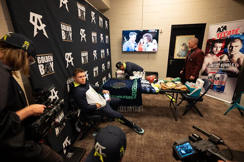 LAS VEGAS, NV - NOVEMBER 02: Boxer Canelo Alvarez in the dressing room before he fights the defending champion Sergey Kovalev the WBO Light Heavyweight championship at MGM Grand Garden Arena on November 2, 2019 in Las Vegas, Nevada (Photo by Sye Williams/Getty Images)