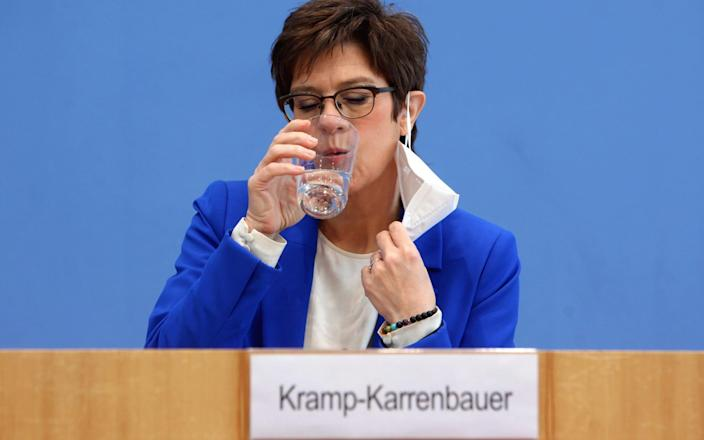Mandatory Credit: Photo by MS CHS/POOL/EPA-EFE/Shutterstock (11846105r) Annegret Kramp-Karrenbauer (CDU), Federal Minister of Defence, attends a press conference on 'Your Year for Germany' service in Berlin, Germany, 06 April 2021. The German army Bundeswehr begins training for the new voluntary service in homeland security. Start of training for voluntary service in homeland security in Germany, Berlin - 06 Apr 2021 - MS CHS/POOL/EPA-EFE/Shutterstock