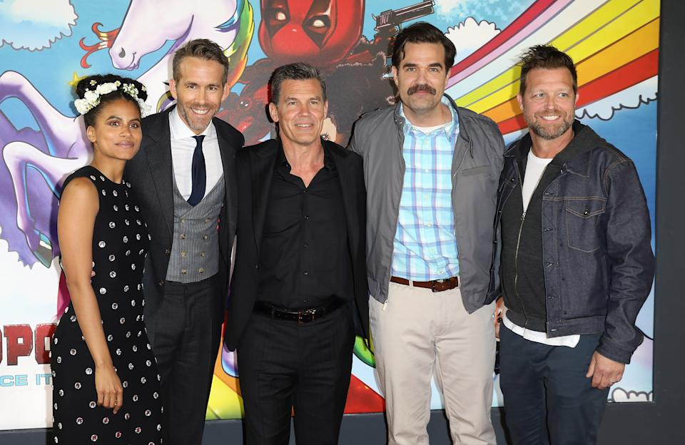 Ryan Renolds, Zazie Beetz, Josh Brolin, Rob Delaney and director David Leitch attend the 'Deadpool 2' UK p-remiere (Credit: Tim P. Whitby/Tim P. Whitby/Getty Images)
