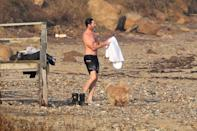 <p>Hugh Jackman went swimming in the Hamptons water.</p>
