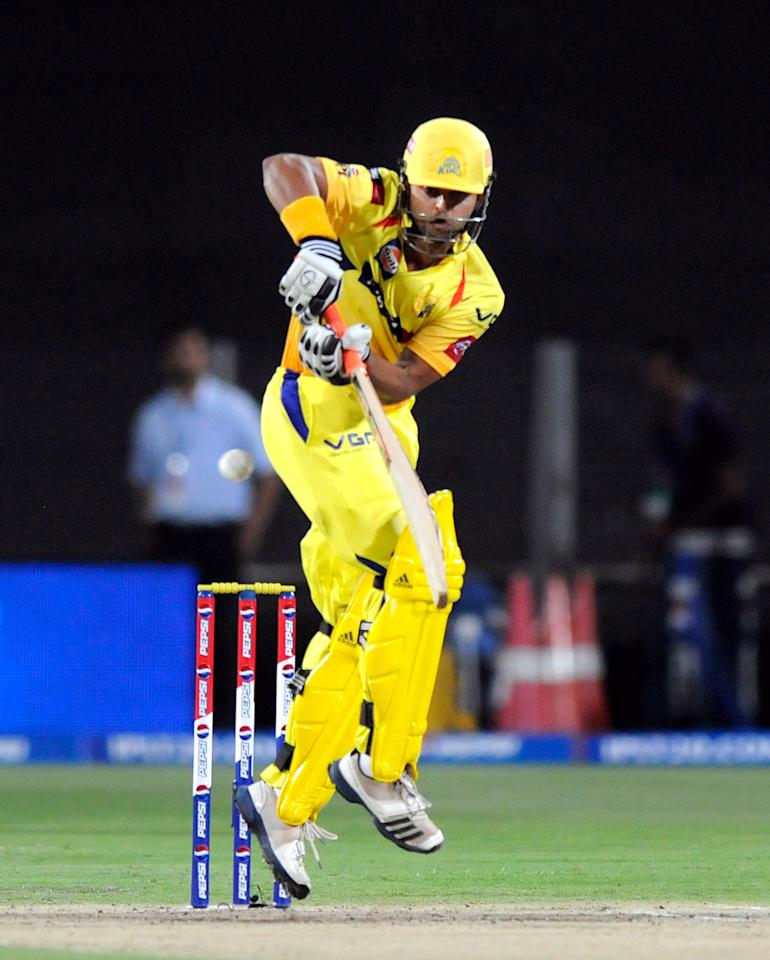 Suresh Raina of Chennai Super Kings bats during match 42 of the Pepsi Indian Premier League ( IPL) 2013  between The Pune Warriors India and the Chennai Superkings held at the Subrata Roy Sahara Stadium, Pune on the 30th April  2013. (BCCI)