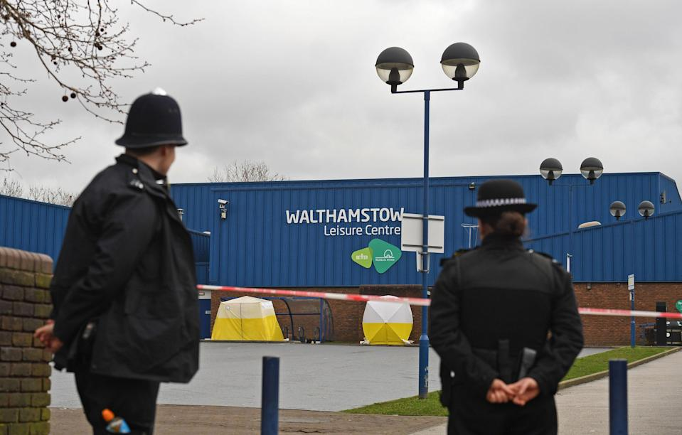Police officers at the scene of the shooting in Walthamstow, east London (Picture: PA)