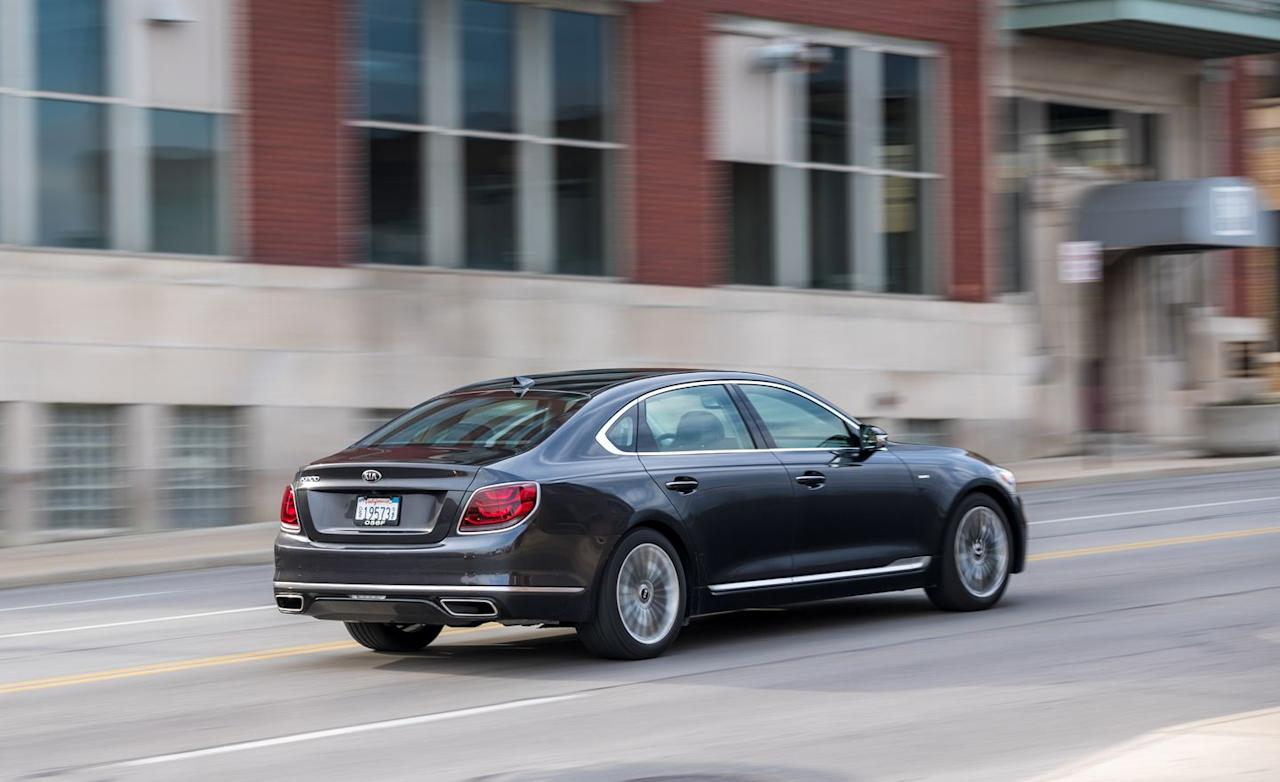 <p>The general ease with which the Kia manages its straight-line performance extends to how it goes around corners. This is not a car that asks to be driven aggressively, but a higher degree of body control results in substantially better composure at speed and little of the nautical pitch and dive motions that characterized the first-gen K900.</p>