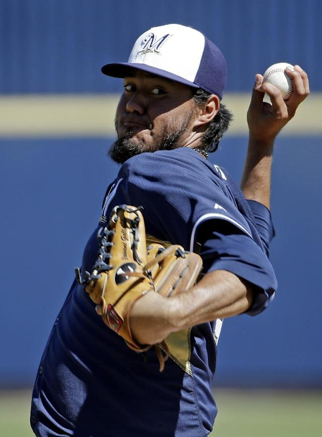 Milwaukee Brewers' Yovani Gallardo throws before the first inning of an exhibition spring training baseball game against the Chicago White Sox Monday, March 10, 2014, in Phoenix. (AP Photo/Morry Gash)