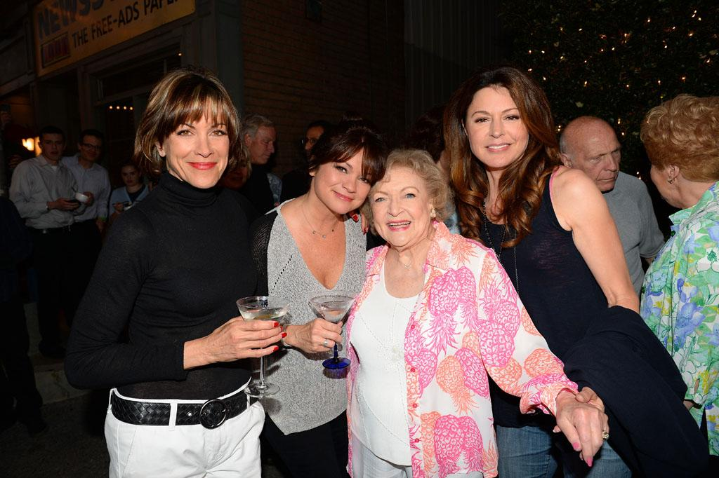 "Wendie Malick, Valerie Bertinelli, Betty White and Jane Leeves attend the after party for TV Land's ""Hot in Cleveland"" Live Show on June 19, 2013 in Studio City, California."