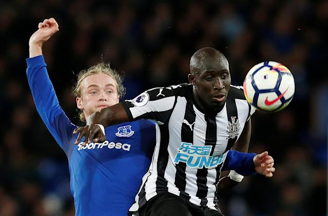 "Soccer Football - Premier League - Everton v Newcastle United - Goodison Park, Liverpool, Britain - April 23, 2018 Newcastle United's Mohamed Diame in action with Everton's Tom Davies REUTERS/Andrew Yates EDITORIAL USE ONLY. No use with unauthorized audio, video, data, fixture lists, club/league logos or ""live"" services. Online in-match use limited to 75 images, no video emulation. No use in betting, games or single club/league/player publications. Please contact your account representative for further details."