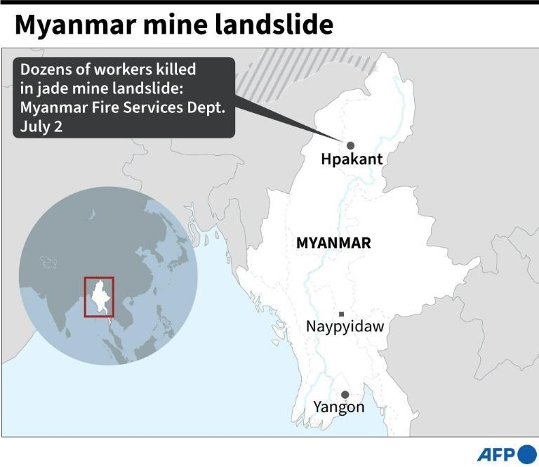 Map of Myanmar locating the site of a jade mine landslide where dozens of workers have been killed, according the the fire services department on Thursday