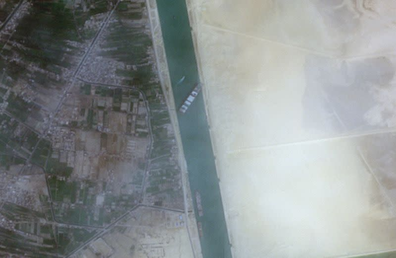 A closer view of the 400-meter, 224,000-tonne Ever Given container ship, leased by Taiwan's Evergreen Marine Corp, seen blocking the Suez Canal in this European Space Agency Copernicus Sentinel-2 satellite Image