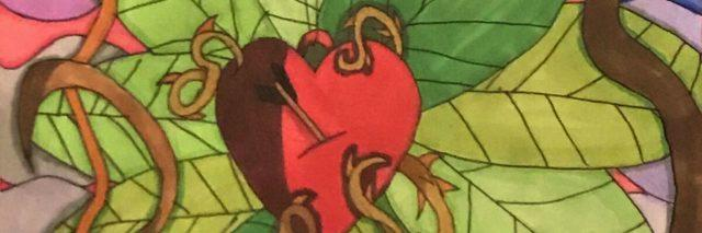 hand drawn illustration of a heart surrounded by leaves and flowers