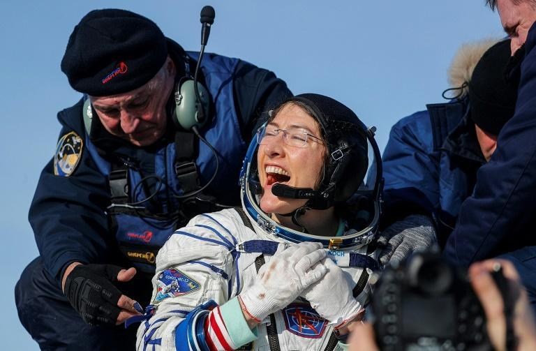 NASA astronaut Christina Koch landed on the Kazakh steppe after 328 days in space (AFP Photo/Sergei ILNITSKY)