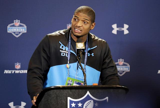 Missouri defensive end Michael Sam speaks during a news conference at the NFL football scouting combine in Indianapolis, Saturday, Feb. 22, 2014. Sam came out to the entire country Feb. 9, and could become the first openly gay player in the NFL. (AP Photo/Nam Y. Huh)