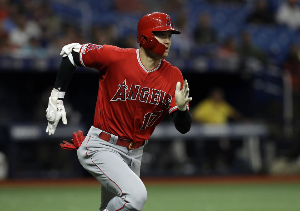 Angels' designated hitter Shohei Ohtani hits the for the cycle against the Rays. (AP Photo/Chris O'Meara)