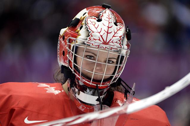 SOCHI, RUSSIA - FEBRUARY 20: Shannon Szabados #1 of Canada looks on in the game against the United States during the Ice Hockey Women's Gold Medal Game on day 13 of the Sochi 2014 Winter Olympics at Bolshoy Ice Dome on February 20, 2014 in Sochi, Russia. (Photo by Harry How/Getty Images)
