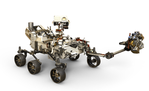 Artists depiction of the 2020 Mars Rover with arm extended. By NASA/JPL-Caltech – https://mars.nasa.gov/resources/mars-2020-rover-artists-concept/, Public Domain, https://commons.wikimedia.org/w/index.php?curid=62085182